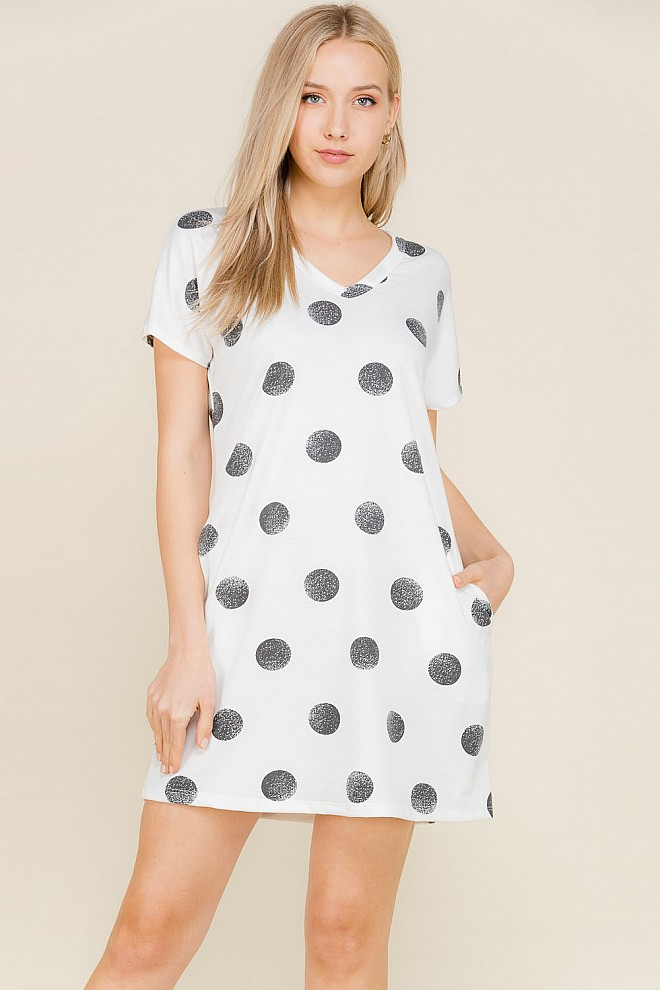 SHORT SLEEVE V-NECK POLKA DOT PRINT DRESS