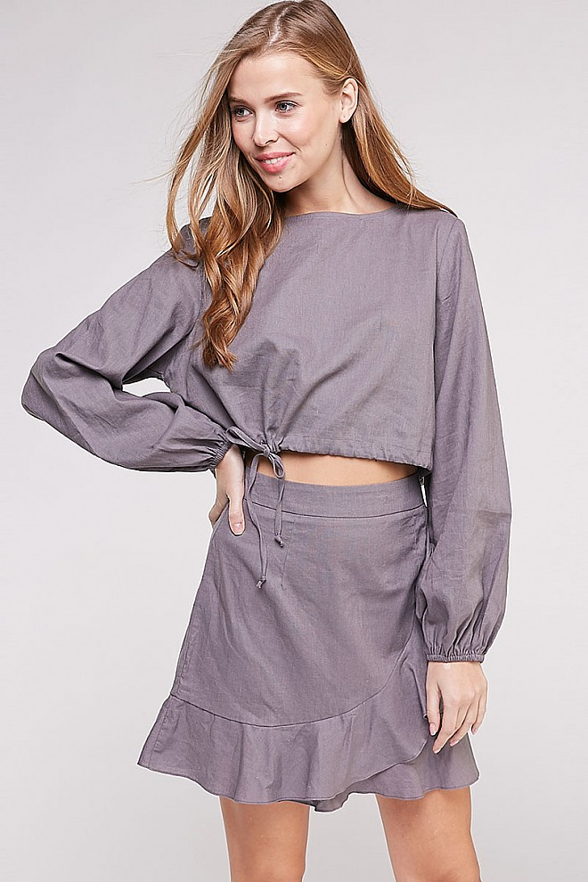 WOVEN LONG SLEEVE TOP WITH RUFFLED SKIRT SET
