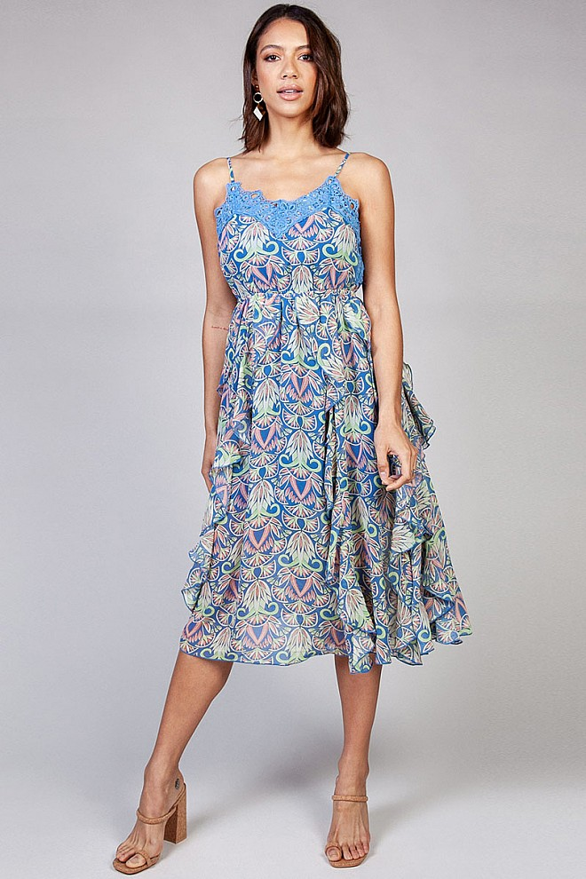 Botanical Print Midi Dress