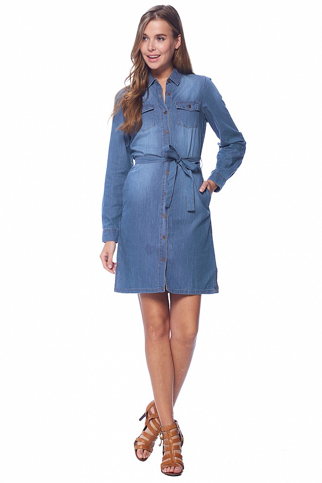 DENIM CHAMBRAY SHIRT DRESS