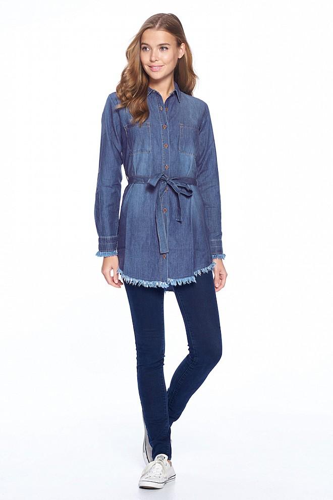 DENIM CHAMBRAY SHIRT DRESS