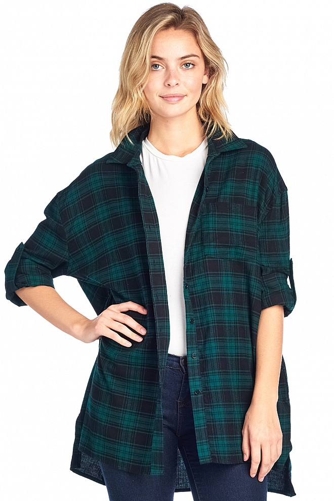 OVERSIZED PLAID FLANNEL