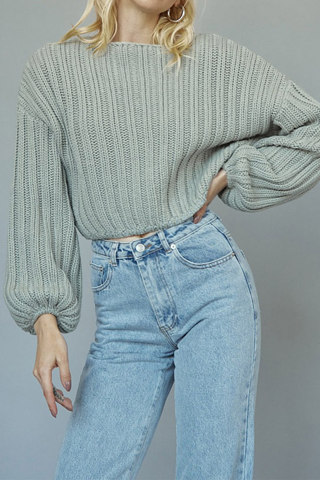 Blooming Sage Cropped Sweater